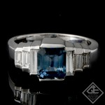 Ladies Antique Style Fashion Ring with 1.60 ct Blue Sapphire and 0.50 ct Baguette Cut Diamonds in 14k White Gold