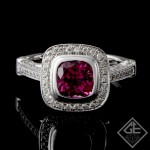 Ladies Pink Tourmaline Ring with Round Brilliant Cut  Diamonds