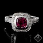 Ladies Pink Tourmaline Ring with Round Brilliant Cut Diamonds