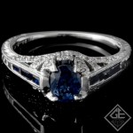 Ladies Vintage Inspired Anniversary Ring With 0.94ct Blue Sapphire and Diamonds in 14k White Gold