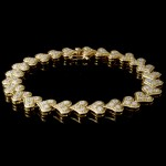 Custom 14K Yellow Gold Diamond Heart Bracelet