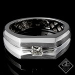 Men's Diamond Wedding Band 0.38 ct Princess cut 14k White Gold