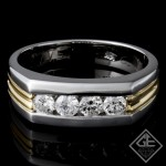 Men's Wedding Band 0.60 ct Round Diamond 14k 2 Tone Gold