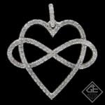 Infinity Heart Pendant with 0.51 carat Round Brilliant Cut Diamonds 14k White Gold