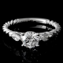 Ladies Custom Rope Design Diamond Engagement Ring