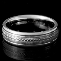 Men's 14k White Gold Rope Design Wedding Ring.