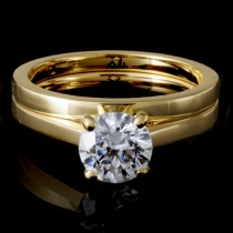 Ladies 4-Prong Solitaire Bridal Set in 14k Yellow Gold