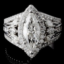 Ladies Custom Design Marquise Diamond Engagement Ring