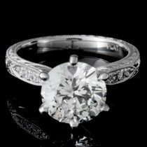 Custom Round Diamond Engagement Ring in Platinum