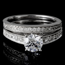 0.55 CTWT Round Cut Diamond Pave Set Bridal Set in 14k White Gold