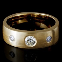 Ladies Custom 3-Diamond Band in 14k Yellow Gold