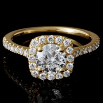 Ladies Custom 14k Yellow Gold Halo Pave Engagement Ring