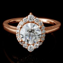 Ladies Custom Design Round Cut Diamond Engagement Ring in 14k Rose Gold