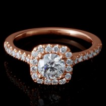 Ladies Custom 14k Rose Gold Halo Pave Engagement Ring