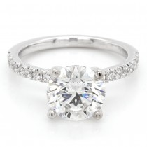 Ladies custom pave diamond engagement ring in 14k white gold