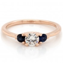 Ladies custom 3-stone engagement ring in 14k rose gold