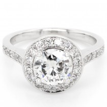 EGL USA 1.02 CT. Round Cut Diamond Halo Pave Engagement Ring in 14k White Gold