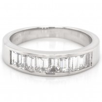 1.09 CTWT Baguette Cut Diamond Anniversary Band in 14k White Gold
