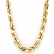 14k Yellow Gold D/C Rope 10 mm. 26-Inch