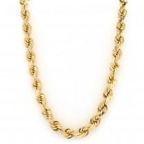 14k Yellow Gold D/C Rope 8 mm. 26-inch