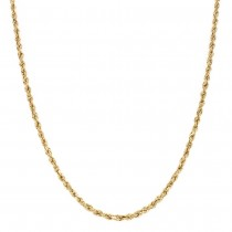 14k Yellow Gold Diamond Cut Rope Chain 2 mm. 24 inch.