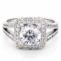 Ladies 0.48 CTWT Round Brilliant Cut Diamond Halo Split Shank Engagement Ring in 14k White Gold