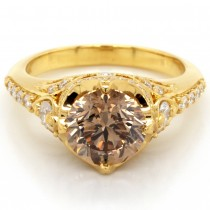 Ladies GIA Certified 3.01 ct. Total Round Cut Diamond Engagement Ring in 18k Yellow Gold