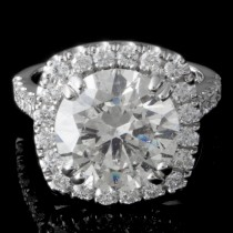 4.91 CTWT Round Cut Diamond Custom Halo Engagement Ring