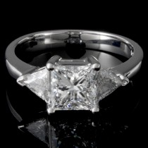 1.92 CTWT Princess and Trillion Cut Diamond Custom Designed Engagement Ring