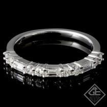 0.55 carat Round & Baguette Cut Diamond Wedding Band in 14k White Gold