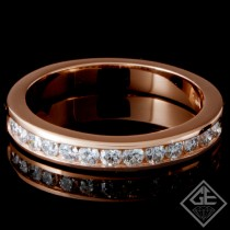 0.33 Carat Round Brilliant Cut Diamond Wedding Band in 14K Rose Gold