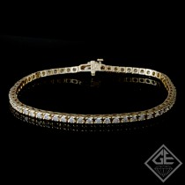 3.15 Ct total Round Brilliant Cut Ladies Diamond Tennis Bracelet in 14k Yellow Gold