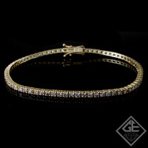 2.96 Ct total Round Brilliant Cut Ladies Diamond Tennis Bracelet in 18k Yellow Gold
