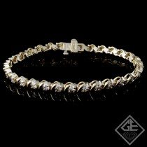 4.62 Ct total Round Brilliant Cut Ladies Diamond Tennis Bracelet in 14k Yellow Gold