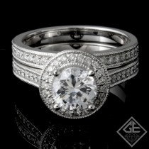 Ladies Diamond Bridal set Ring with 0.55 carat Round brilliant cut side diamonds.