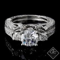 Ladies Diamond Bridal set Ring with 1.53 carat Round brilliant cut side diamonds.