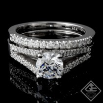 Ladies Diamond Bridal set Ring with 0.35 carat Round brilliant cut side diamonds.