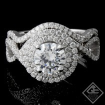 Ladies Diamond Bridal set Ring with 0.59 carat Round brilliant cut side diamonds.