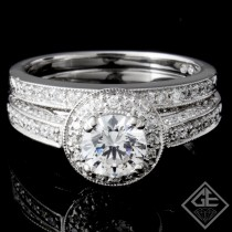 Ladies Halo Diamond Bridal set Ring with 0.98 carat Round  brilliant cut side diamonds.
