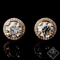 2.30 ct tw. Round Brilliant Cut Diamonds Halo Style Stud Earrings 14K Rose Gold