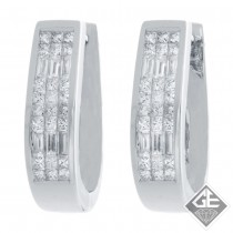 18k White Gold Princess and Baguette Ladies Diamond Hoop Earrings 1.38 Ct Tw.