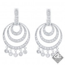 14k White Gold Ladies Dangling Earrings 1.46 ct. tw Round Diamonds