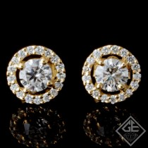 1.45 CTWT Round Cut Diamonds Halo Stud Earrings in 14k Yellow Gold