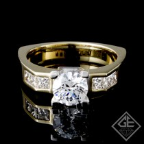 Princess Cut Ladies Diamond Engagement Ring 14k Yellow Gold