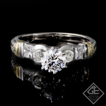 Ladies Round Brilliant cut and Princess Diamond Engagement Ring