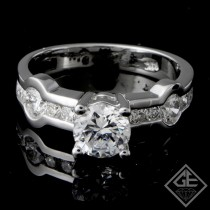 Channel Set Round Brilliant Cut Diamond Engagement Ring 14k Gold