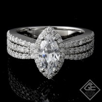 Marquise Cut Halo Style Diamond Engagement 3-Row Ring 14k Gold