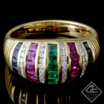 Ladies Channel Set Anniversary Ring with Round Cut Diamonds And Princess Cut Gem Stones in 18k Yellow Gold