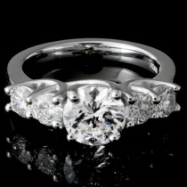 Custom PT950 Diamond Engagement Ring
