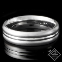 Men's Wedding Band 6 mm 14k White Gold